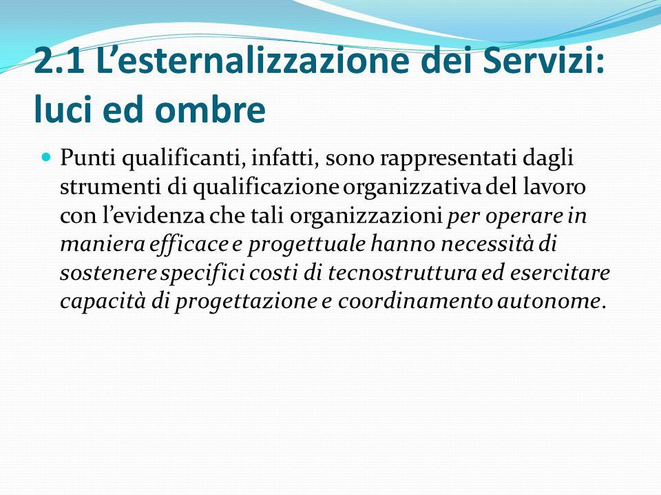2.1 L'esternalizzazione dei Servizi: luci ed ombre Punti qualificanti, infatti, sono rappresentati dagli strumenti di qualificazione organizzativa del