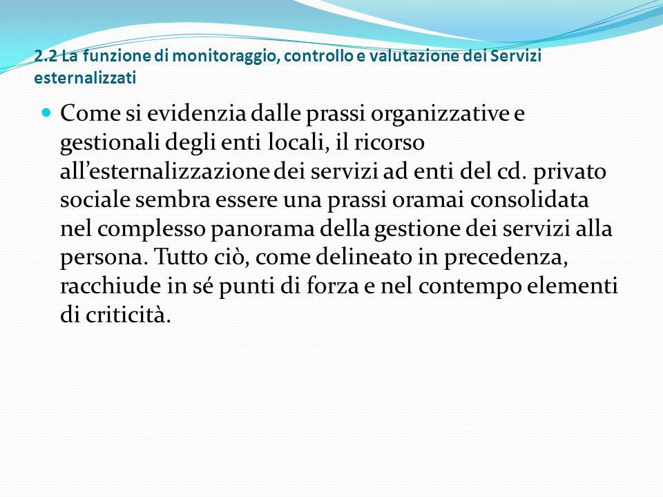 2.2 La funzione di monitoraggio, controllo e valutazione dei Servizi esternalizzati Come si evidenzia dalle prassi organizzative e gestionali degli en