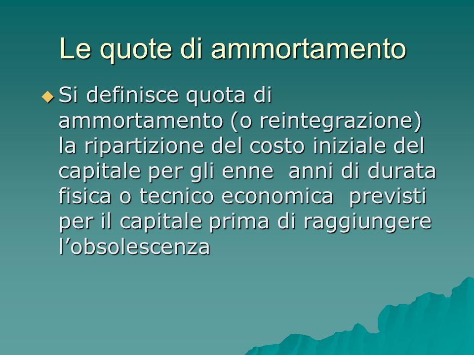 Le quote di ammortamento  Si definisce quota di ammortamento (o reintegrazione) la ripartizione del costo iniziale del capitale per gli enne anni di