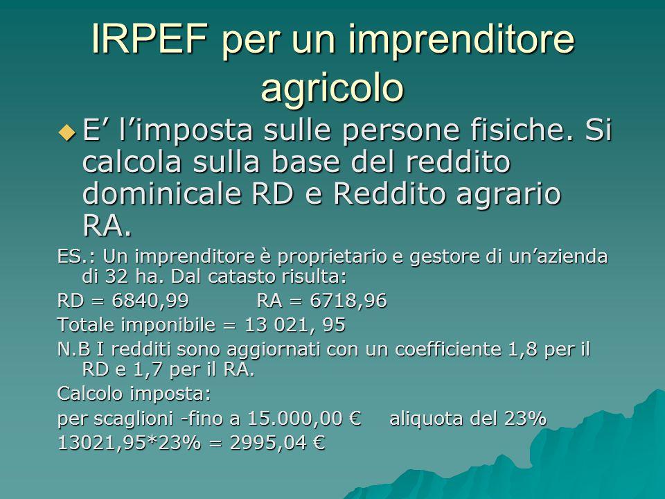 IRPEF per un imprenditore agricolo  E' l'imposta sulle persone fisiche. Si calcola sulla base del reddito dominicale RD e Reddito agrario RA. ES.: Un