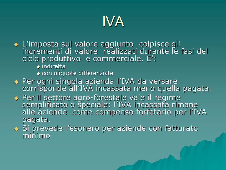 IVA  L'imposta sul valore aggiunto colpisce gli incrementi di valore realizzati durante le fasi del ciclo produttivo e commerciale.