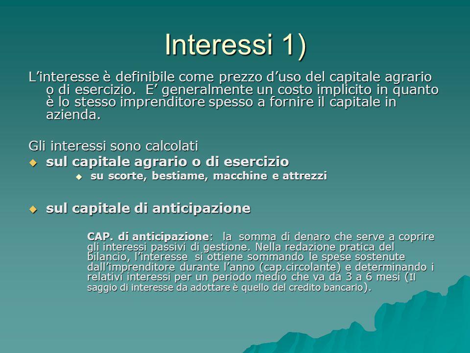 Interessi 1) L'interesse è definibile come prezzo d'uso del capitale agrario o di esercizio. E' generalmente un costo implicito in quanto è lo stesso