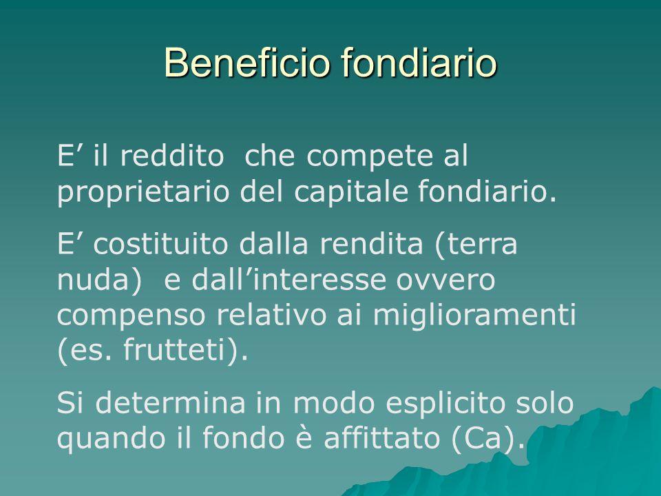 Beneficio fondiario E' il reddito che compete al proprietario del capitale fondiario. E' costituito dalla rendita (terra nuda) e dall'interesse ovvero
