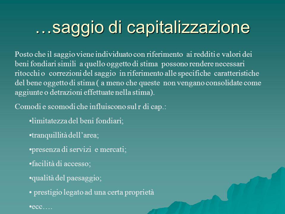 …saggio di capitalizzazione Posto che il saggio viene individuato con riferimento ai redditi e valori dei beni fondiari simili a quello oggetto di sti