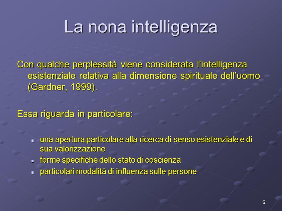 6 La nona intelligenza Con qualche perplessità viene considerata l'intelligenza esistenziale relativa alla dimensione spirituale dell'uomo (Gardner, 1
