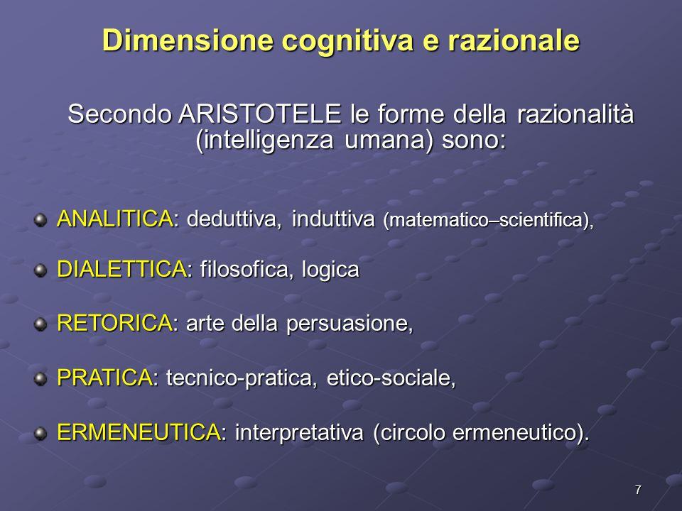 7 Dimensione cognitiva e razionale Secondo ARISTOTELE le forme della razionalità (intelligenza umana) sono: ANALITICA: deduttiva, induttiva (matematico–scientifica), DIALETTICA: filosofica, logica RETORICA: arte della persuasione, PRATICA: tecnico-pratica, etico-sociale, ERMENEUTICA: interpretativa (circolo ermeneutico).