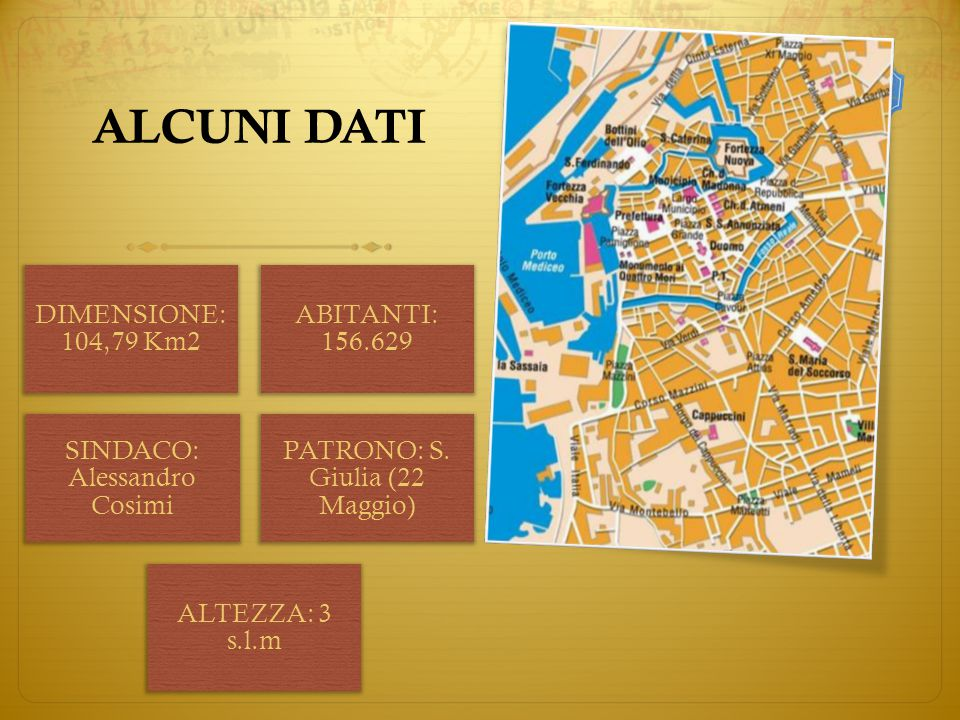 ALCUNI DATI DIMENSIONE: 104,79 Km2 ABITANTI: 156.629 SINDACO: Alessandro Cosimi PATRONO: S.