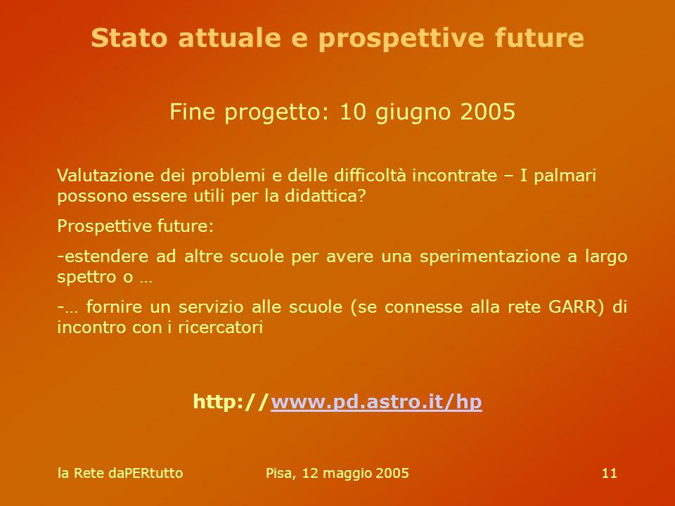 la Rete daPERtuttoPisa, 12 maggio 200511 http://www.pd.astro.it/hpwww.pd.astro.it/hp Fine progetto: 10 giugno 2005 Valutazione dei problemi e delle difficoltà incontrate – I palmari possono essere utili per la didattica.