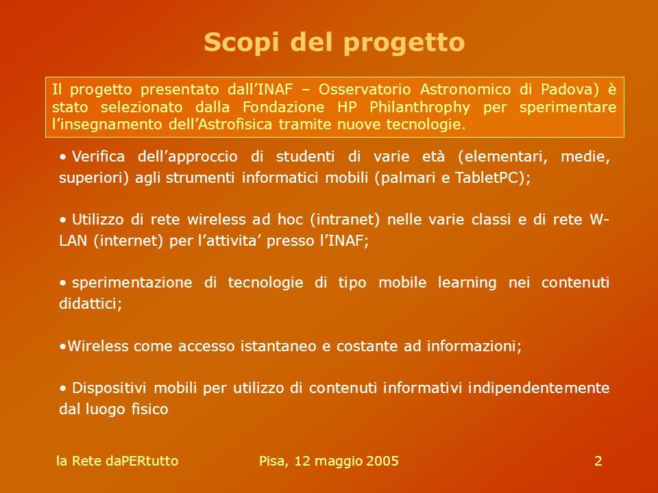 la Rete daPERtuttoPisa, 12 maggio 20052 Il progetto presentato dall'INAF – Osservatorio Astronomico di Padova) è stato selezionato dalla Fondazione HP Philanthrophy per sperimentare l'insegnamento dell'Astrofisica tramite nuove tecnologie.