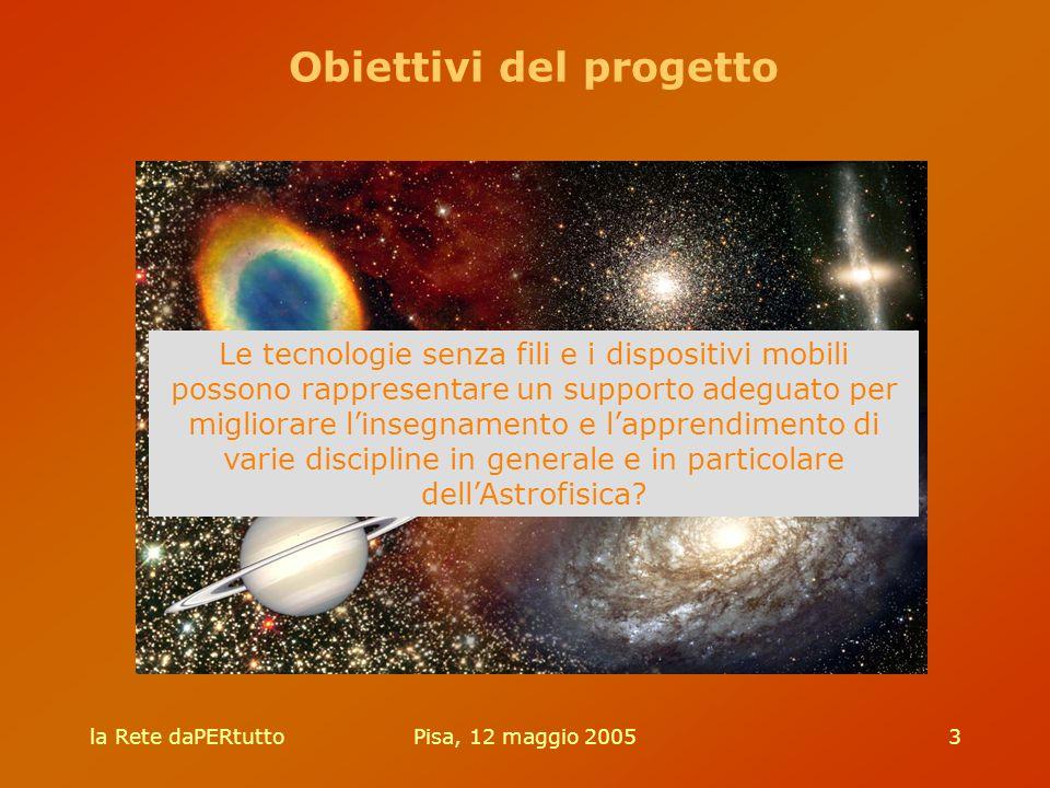 la Rete daPERtuttoPisa, 12 maggio 20053 Le tecnologie senza fili e i dispositivi mobili possono rappresentare un supporto adeguato per migliorare l'insegnamento e l'apprendimento di varie discipline in generale e in particolare dell'Astrofisica.