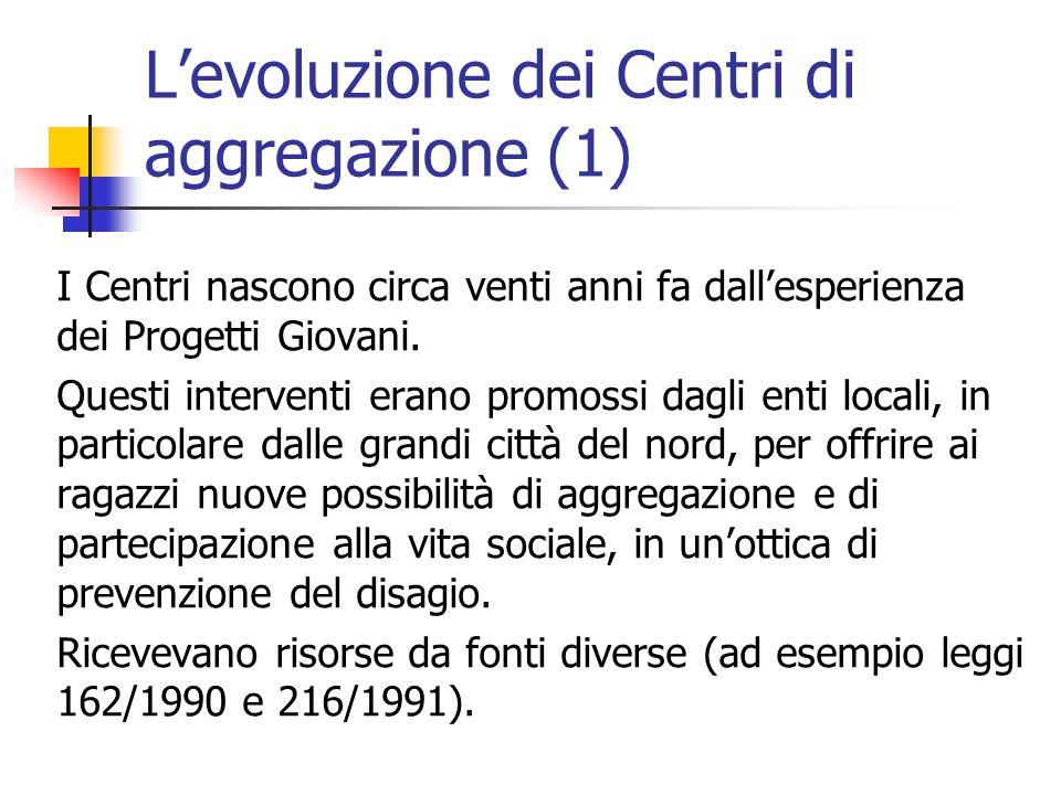 L'evoluzione dei Centri di aggregazione (1) I Centri nascono circa venti anni fa dall'esperienza dei Progetti Giovani.