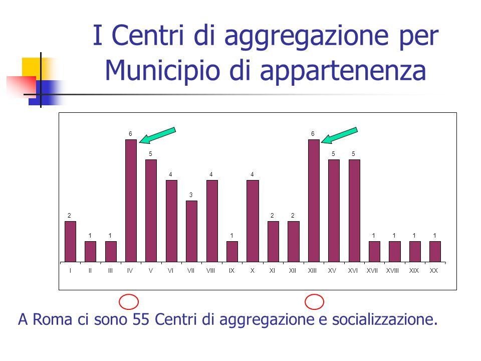 I Centri di aggregazione per Municipio di appartenenza 1 4 1 55 1111 2 1 6 5 3 44 22 6 IIIIIIIVVVIVIIVIIIIXXXIXIIXIIIXVXVIXVIIXVIIIXIXXX A Roma ci sono 55 Centri di aggregazione e socializzazione.