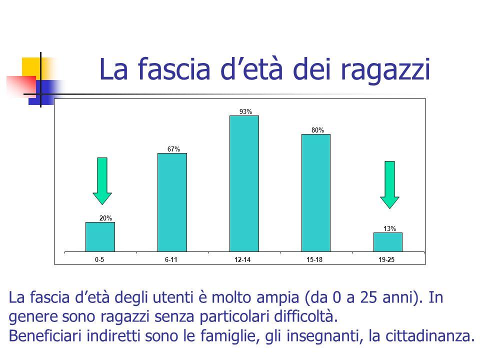 La fascia d'età dei ragazzi 20% 67% 93% 80% 13% 0-56-1112-1415-1819-25 La fascia d'età degli utenti è molto ampia (da 0 a 25 anni).