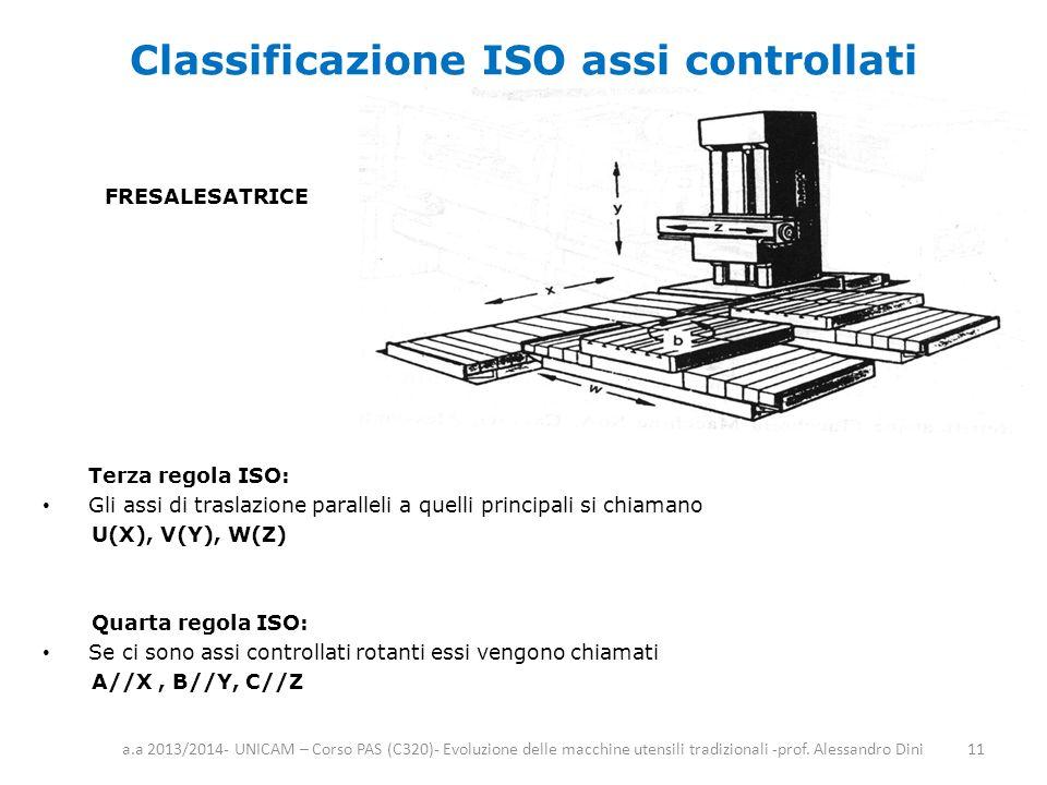 Classificazione ISO assi controllati Terza regola ISO: Gli assi di traslazione paralleli a quelli principali si chiamano U(X), V(Y), W(Z) Quarta regol