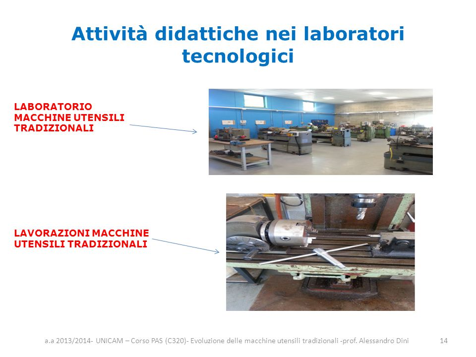 Attività didattiche nei laboratori tecnologici a.a 2013/2014- UNICAM – Corso PAS (C320)- Evoluzione delle macchine utensili tradizionali -prof. Alessa