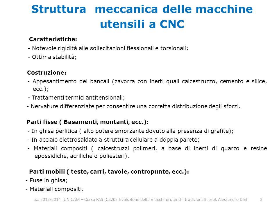 Struttura meccanica delle macchine utensili a CNC Caratteristiche: - Notevole rigidità alle sollecitazioni flessionali e torsionali; - Ottima stabilit