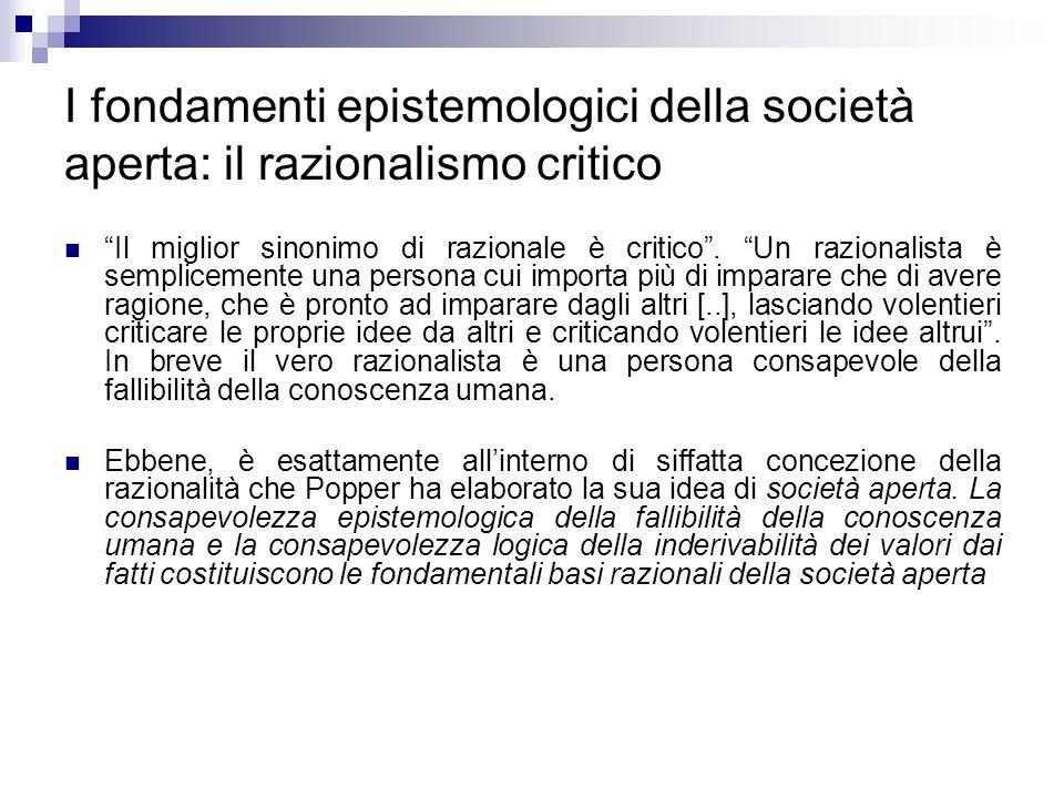 """I fondamenti epistemologici della società aperta: il razionalismo critico """"Il miglior sinonimo di razionale è critico"""". """"Un razionalista è semplicemen"""