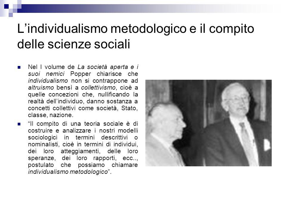 L'individualismo metodologico e il compito delle scienze sociali Nel I volume de La società aperta e i suoi nemici Popper chiarisce che individualismo