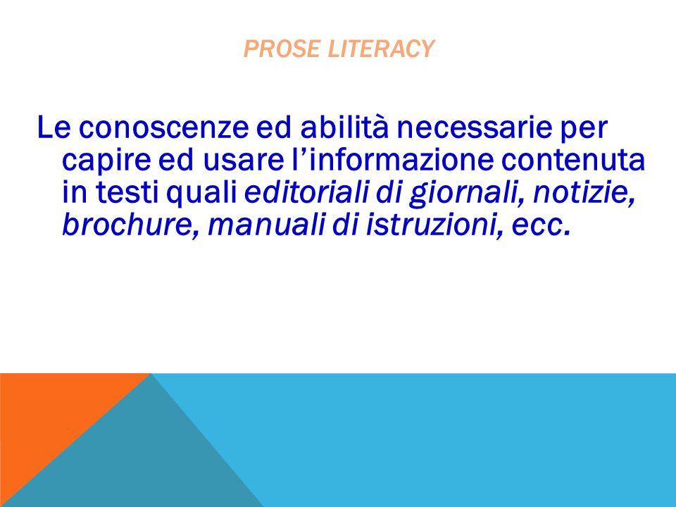 Le conoscenze ed abilità necessarie per capire ed usare l'informazione contenuta in testi quali editoriali di giornali, notizie, brochure, manuali di