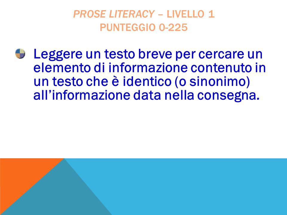 Leggere un testo breve per cercare un elemento di informazione contenuto in un testo che è identico (o sinonimo) all'informazione data nella consegna.