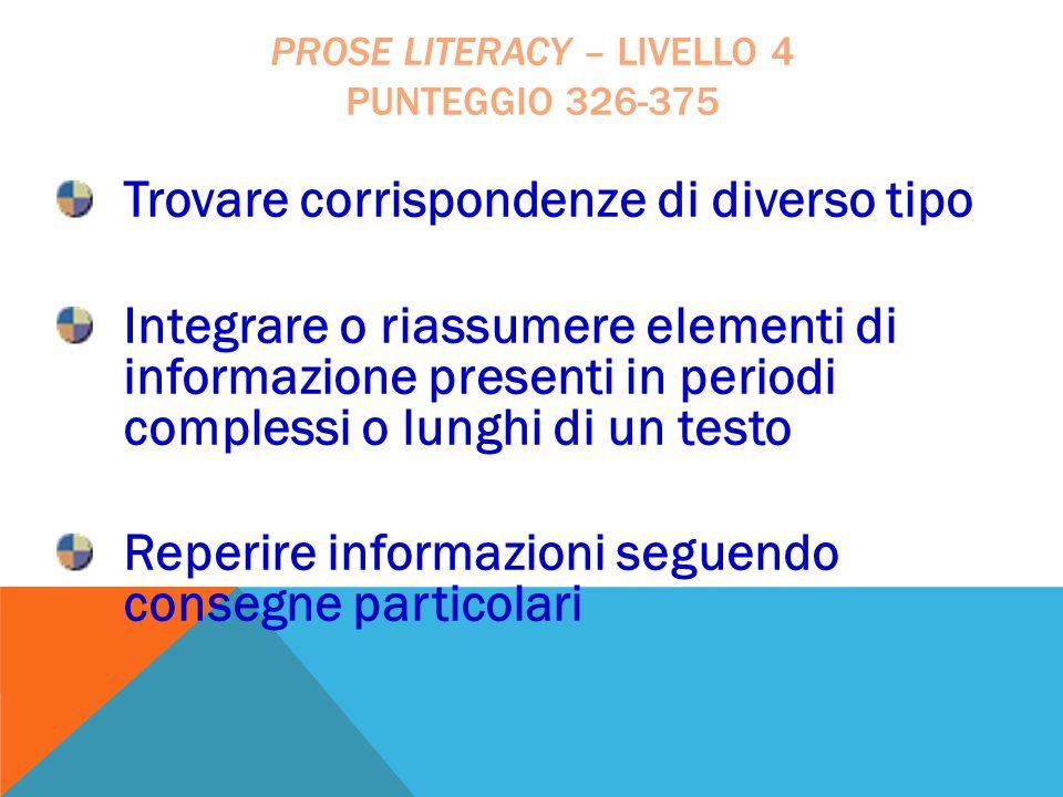 Trovare corrispondenze di diverso tipo Integrare o riassumere elementi di informazione presenti in periodi complessi o lunghi di un testo Reperire inf