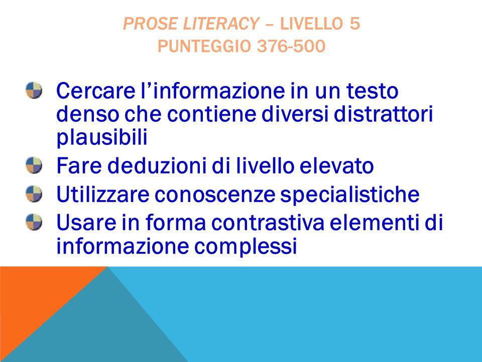 Cercare l'informazione in un testo denso che contiene diversi distrattori plausibili Fare deduzioni di livello elevato Utilizzare conoscenze specialis