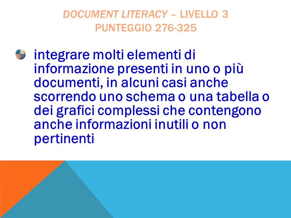 integrare molti elementi di informazione presenti in uno o più documenti, in alcuni casi anche scorrendo uno schema o una tabella o dei grafici comple