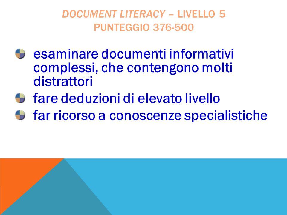 esaminare documenti informativi complessi, che contengono molti distrattori fare deduzioni di elevato livello far ricorso a conoscenze specialistiche