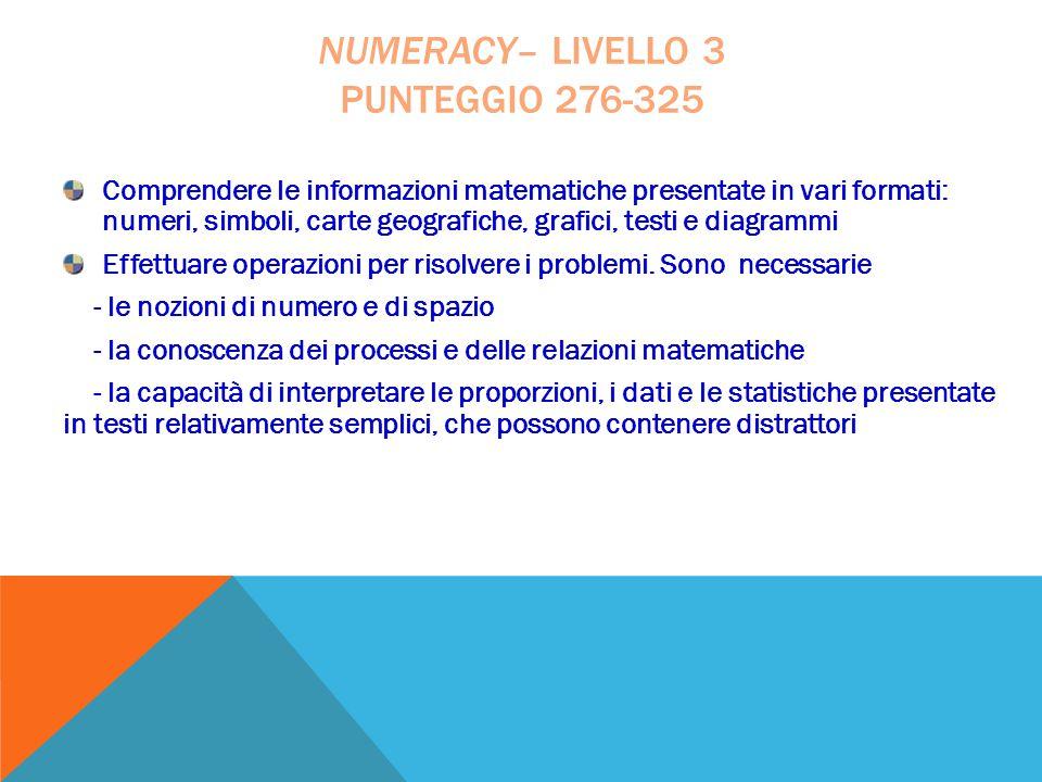 Comprendere le informazioni matematiche presentate in vari formati: numeri, simboli, carte geografiche, grafici, testi e diagrammi Effettuare operazio