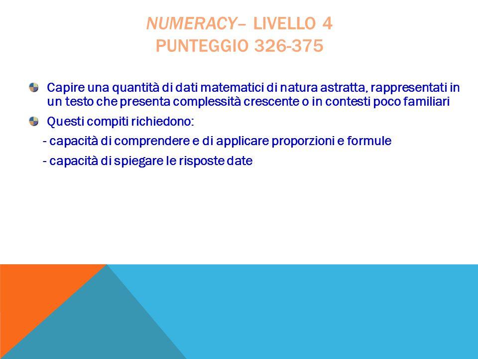 Capire una quantità di dati matematici di natura astratta, rappresentati in un testo che presenta complessità crescente o in contesti poco familiari Q