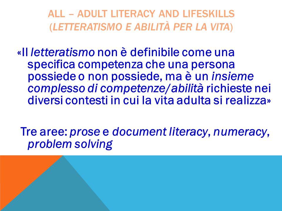 «Il letteratismo non è definibile come una specifica competenza che una persona possiede o non possiede, ma è un insieme complesso di competenze/abili