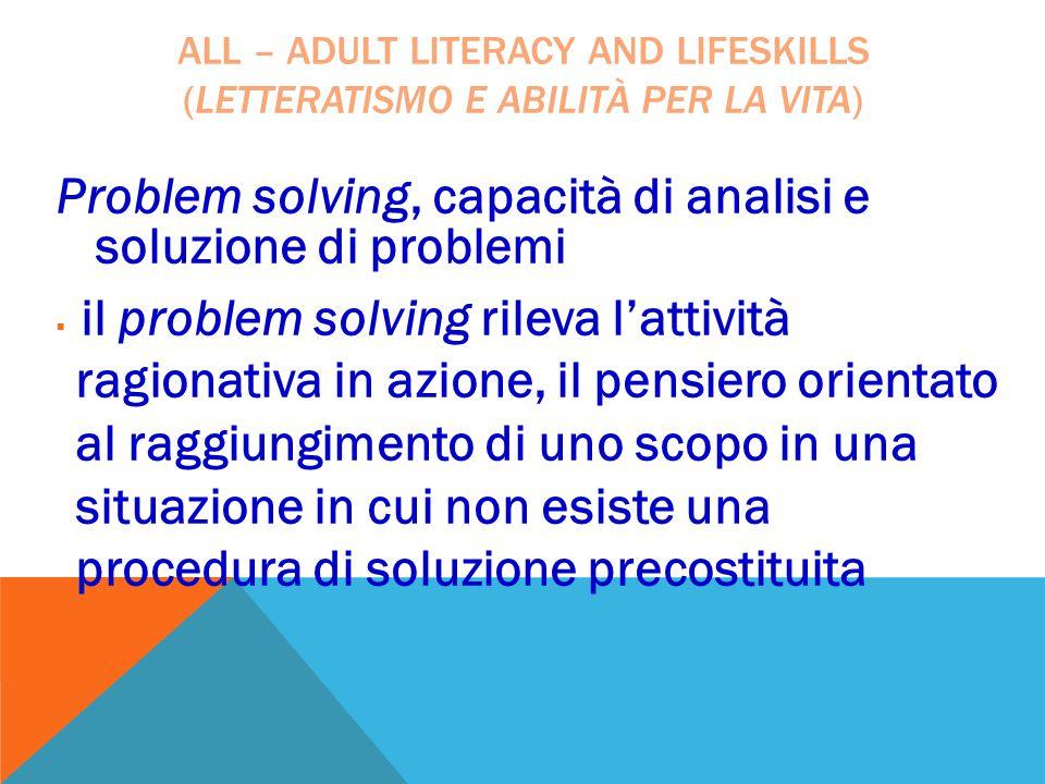 Problem solving, capacità di analisi e soluzione di problemi  il problem solving rileva l'attività ragionativa in azione, il pensiero orientato al ra