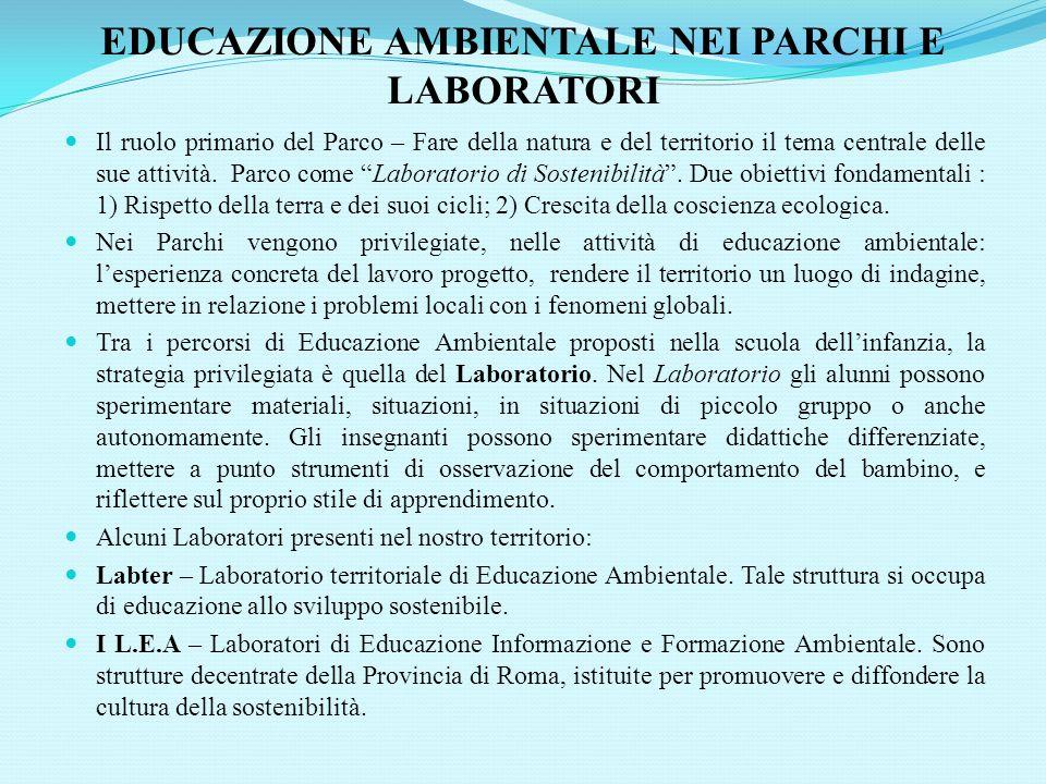 EDUCAZIONE AMBIENTALE NEI PARCHI E LABORATORI Il ruolo primario del Parco – Fare della natura e del territorio il tema centrale delle sue attività.
