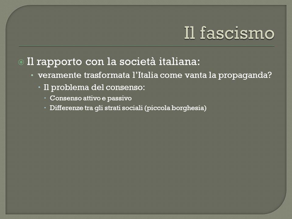  Il rapporto con la società italiana: veramente trasformata l'Italia come vanta la propaganda?  Il problema del consenso:  Consenso attivo e passiv