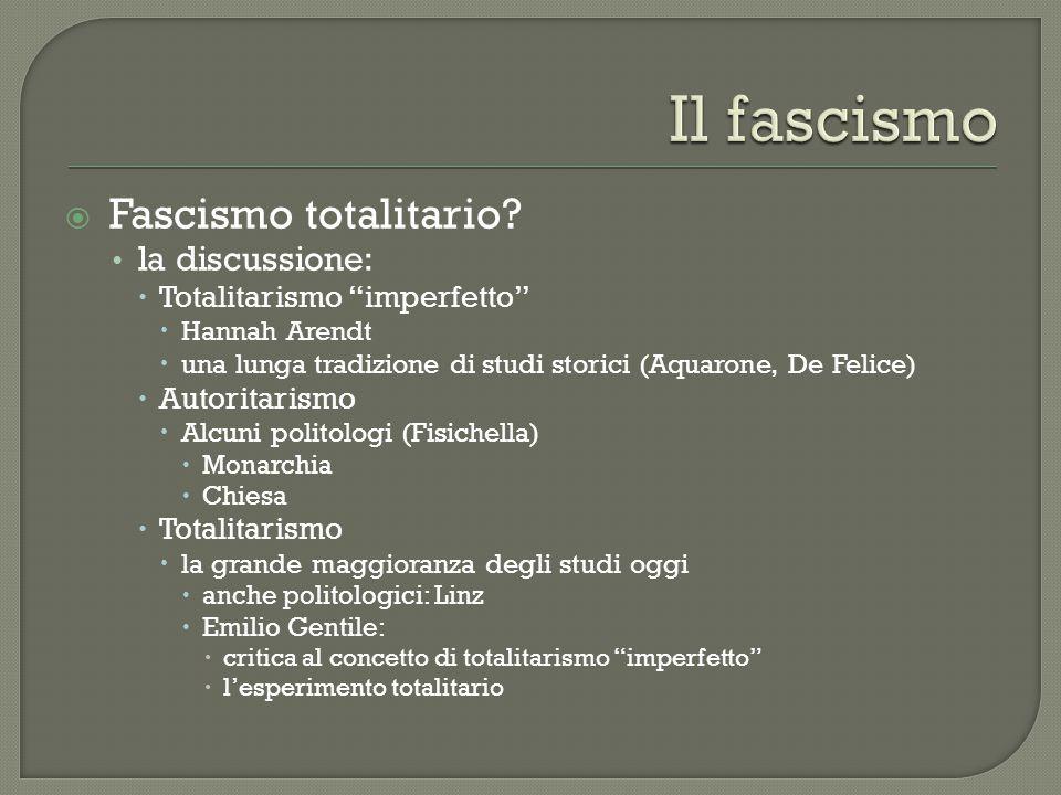 """ Fascismo totalitario? la discussione:  Totalitarismo """"imperfetto""""  Hannah Arendt  una lunga tradizione di studi storici (Aquarone, De Felice)  A"""