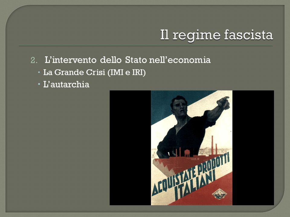 2. L'intervento dello Stato nell'economia  La Grande Crisi (IMI e IRI)  L'autarchia