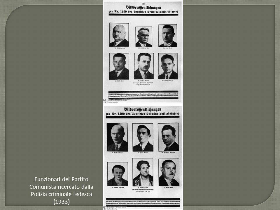 Funzionari del Partito Comunista ricercato dalla Polizia criminale tedesca (1933)