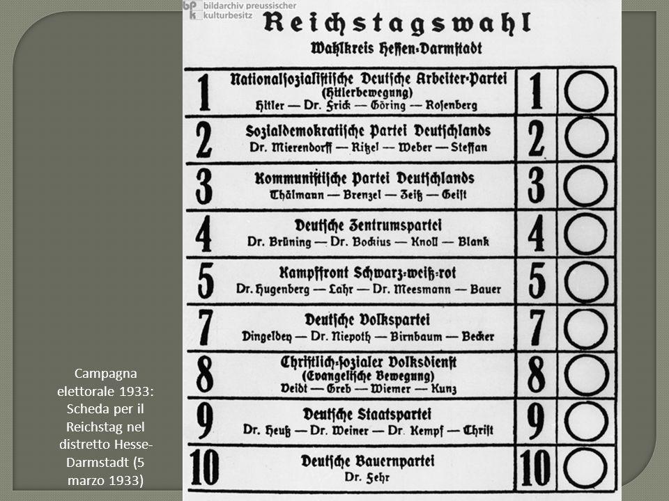 Campagna elettorale 1933: Scheda per il Reichstag nel distretto Hesse- Darmstadt (5 marzo 1933)