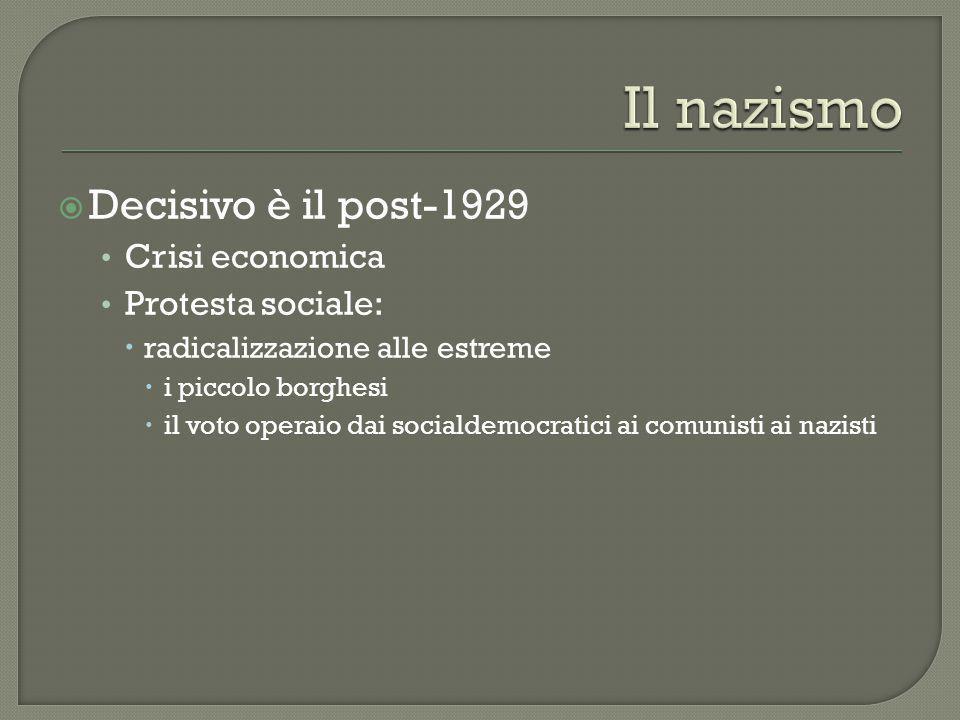  Decisivo è il post-1929 Crisi economica Protesta sociale:  radicalizzazione alle estreme  i piccolo borghesi  il voto operaio dai socialdemocrati