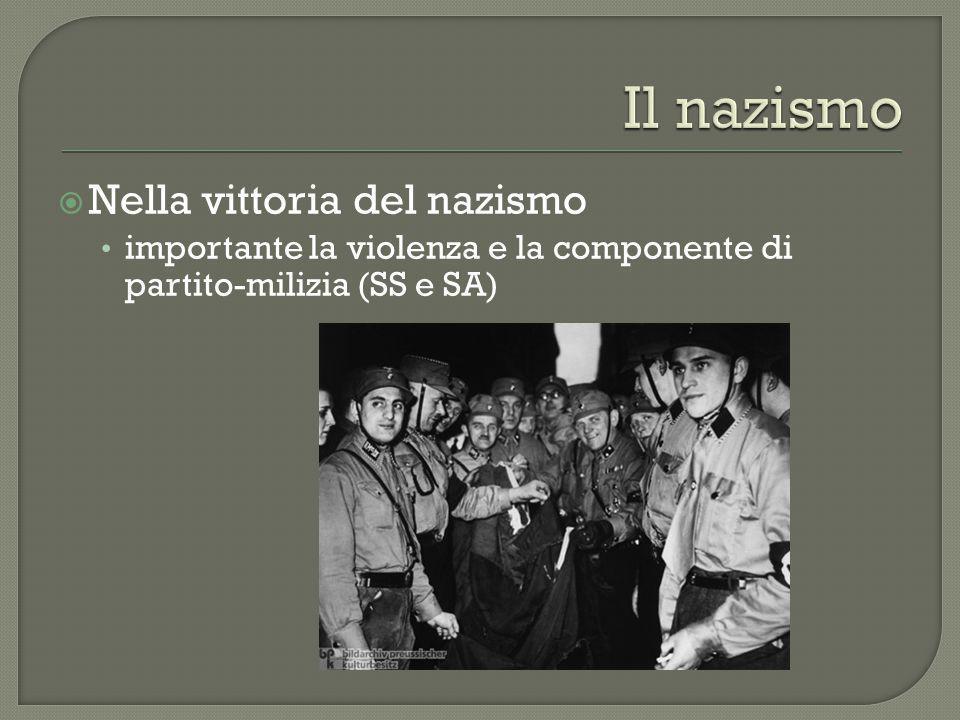  Nella vittoria del nazismo importante la violenza e la componente di partito-milizia (SS e SA)