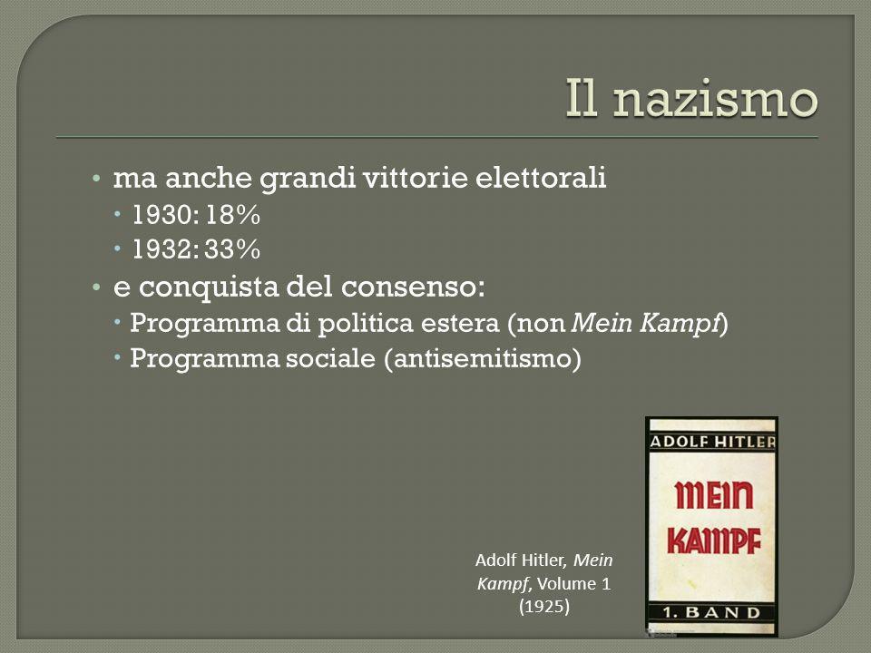 ma anche grandi vittorie elettorali  1930: 18%  1932: 33% e conquista del consenso:  Programma di politica estera (non Mein Kampf)  Programma soci