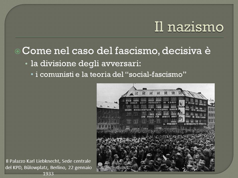 """ Come nel caso del fascismo, decisiva è la divisione degli avversari: i comunisti e la teoria del """"social-fascismo"""" Il Palazzo Karl Liebknecht, Sede"""