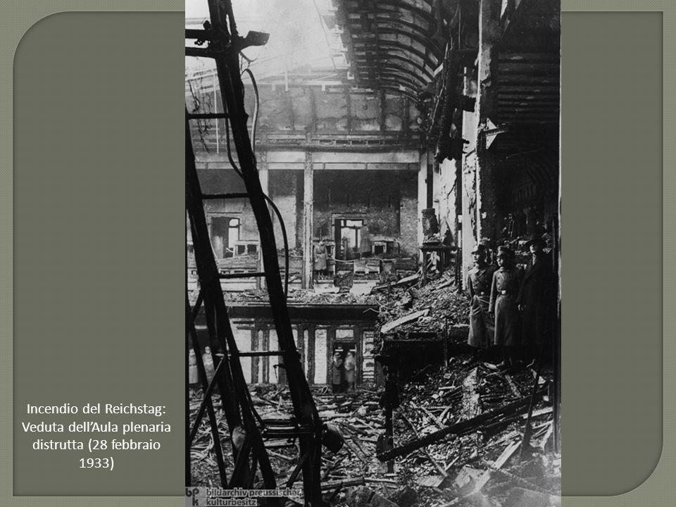 Incendio del Reichstag: Veduta dell'Aula plenaria distrutta (28 febbraio 1933)