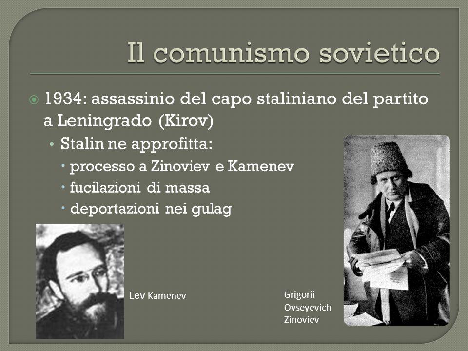  1934: assassinio del capo staliniano del partito a Leningrado (Kirov) Stalin ne approfitta:  processo a Zinoviev e Kamenev  fucilazioni di massa  deportazioni nei gulag Lev Kamenev Grigorii Ovseyevich Zinoviev