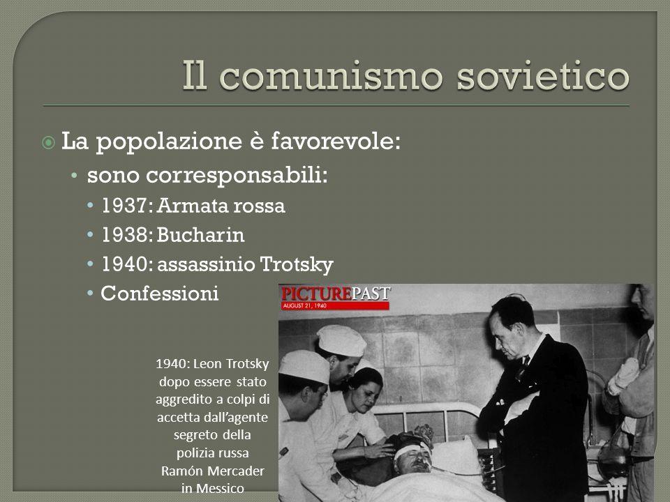  La popolazione è favorevole: sono corresponsabili: 1937: Armata rossa 1938: Bucharin 1940: assassinio Trotsky Confessioni 1940: Leon Trotsky dopo essere stato aggredito a colpi di accetta dall'agente segreto della polizia russa Ramón Mercader in Messico