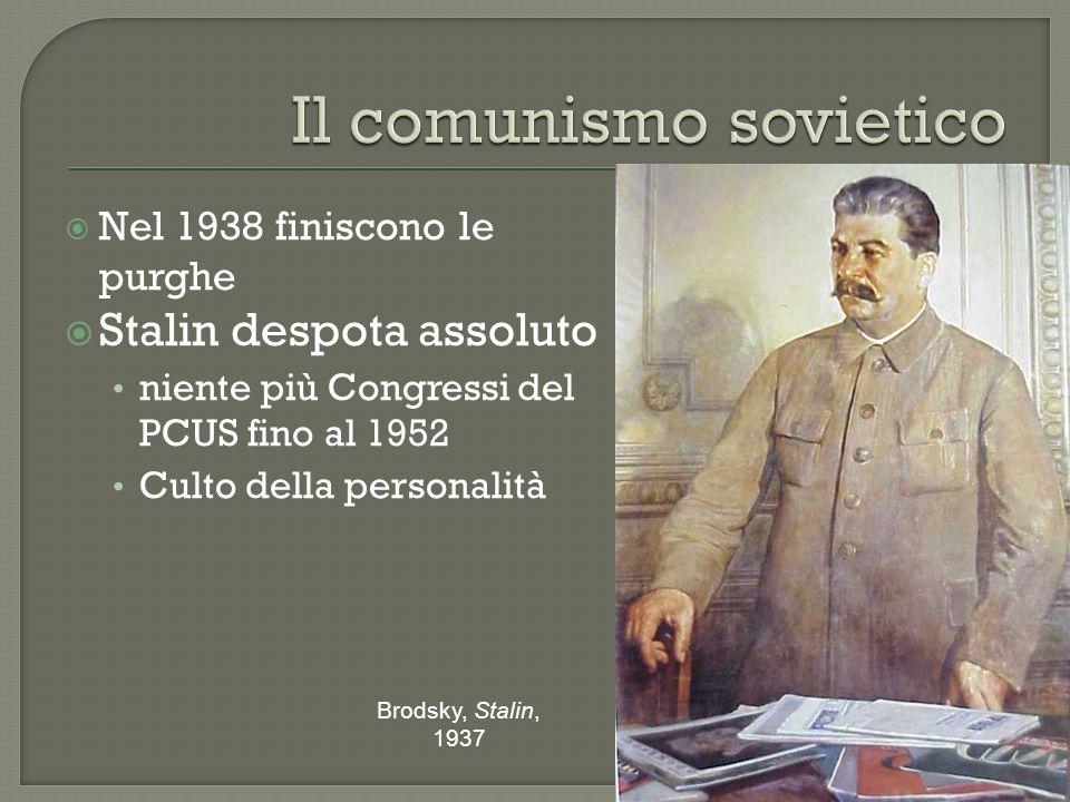  Nel 1938 finiscono le purghe  Stalin despota assoluto niente più Congressi del PCUS fino al 1952 Culto della personalità Brodsky, Stalin, 1937