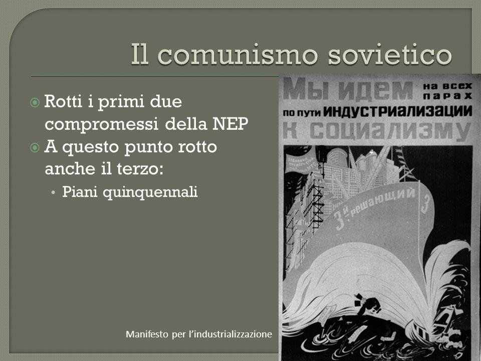  Rotti i primi due compromessi della NEP  A questo punto rotto anche il terzo: Piani quinquennali Manifesto per l'industrializzazione