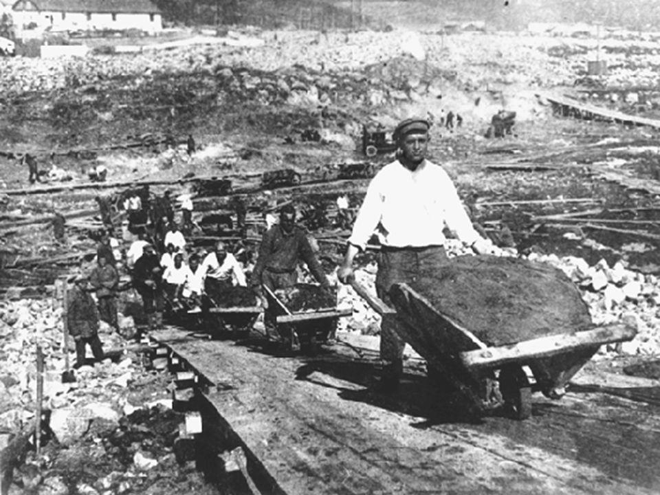 Gerarchia:  industria bellica e pesante prima della leggera, dei salari, dei redditi agricoli Fine di ogni autonomia sindacale Passaporti interni