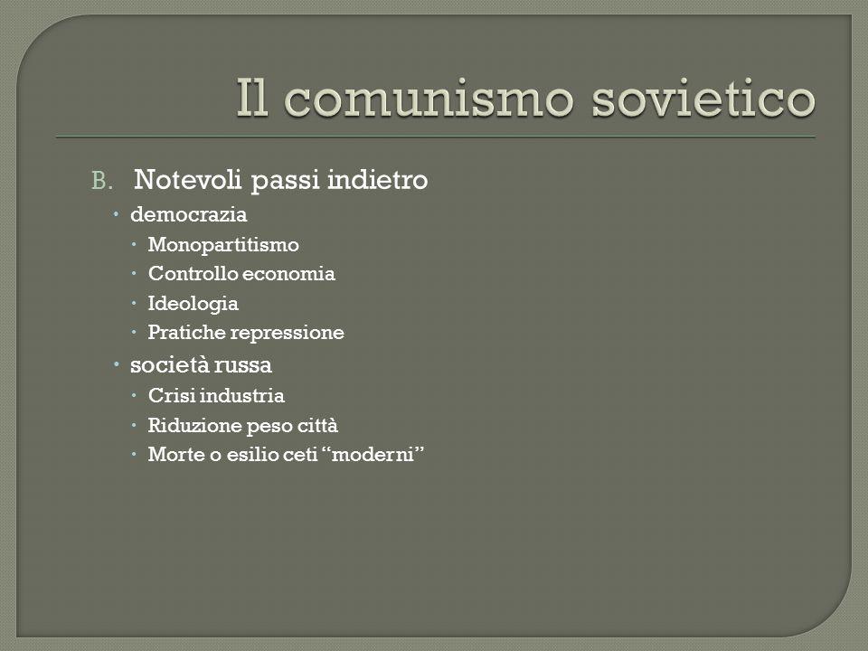 B. Notevoli passi indietro  democrazia  Monopartitismo  Controllo economia  Ideologia  Pratiche repressione  società russa  Crisi industria  R