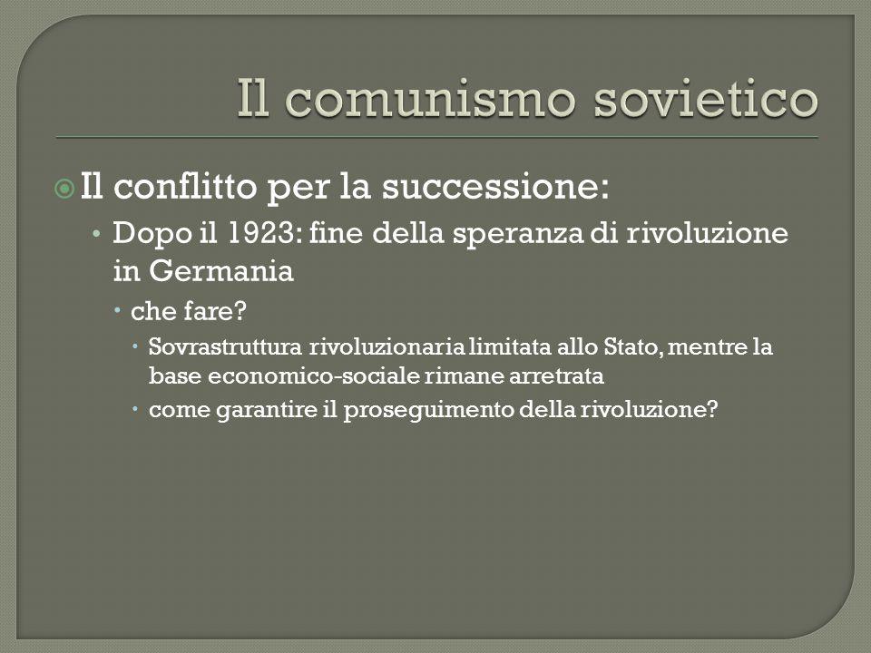  Il conflitto per la successione: Dopo il 1923: fine della speranza di rivoluzione in Germania  che fare?  Sovrastruttura rivoluzionaria limitata a